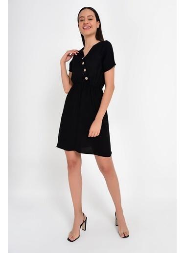 Cottonmood 9201573 Bodrum Kms.Kolsuz Yanı Düğmeli Elbise Siyah